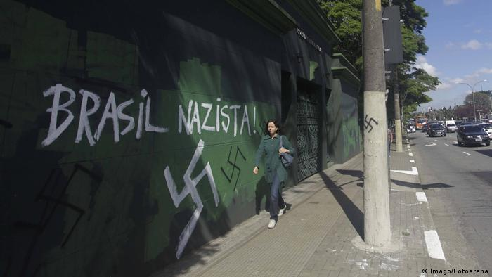 A swastika painted on a wall in Sao Paulo