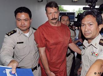 Viktor Bout arrives at court in Bangkok.