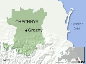 A map showing Chechnya's location next to the Caspian Sea