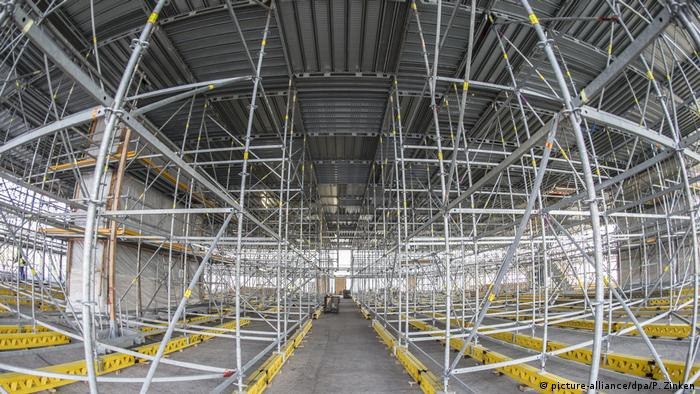 Scaffolding in the Neue Nationalgalerie in 2017