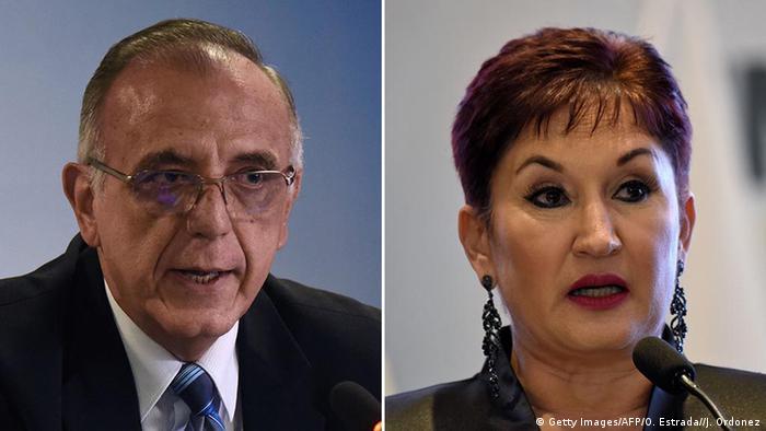 ***SPERRFRIST 24.09.2018 um 09.00 Uhr***** Right Livelihood Award Bildkombo Ivan Velasques und Thelma Aldana (Getty Images/AFP/O. Estrada//J. Ordonez)