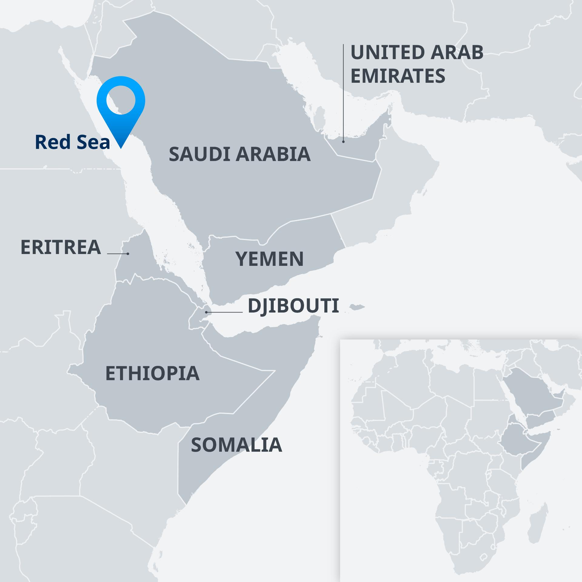Karte Horn von Afrika Golfstaaten EN