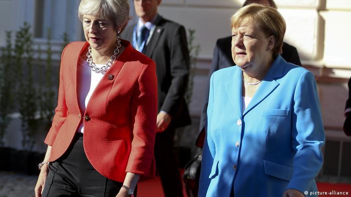 Theresa May and Angela Merkel at the Salzburg summit.