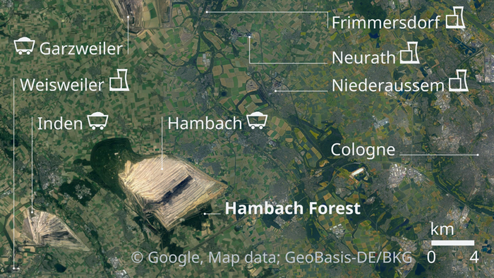 Satellite view map of Hambach Forest