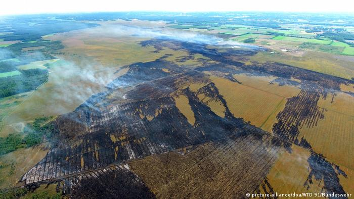 Aerial shot of the area burned in the Meppen fire