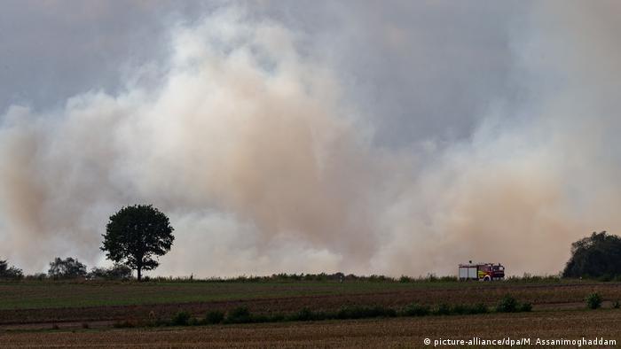 Smoke from the moorland fire near Meppen, in northwestern Germany.
