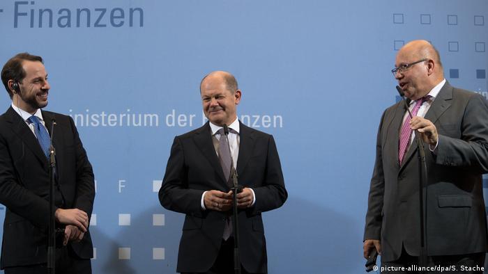 Hazine ve Maliye Bakanı Berat Albayrak Eylül ayında Almanya'da Maliye Bakanı Olaf Scholz ve Ekonomi Bakanı Peter Altmaier ile bir araya gelmişti.