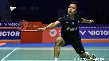 Badminton Anthony Sinisuka Ginting aus Indonesien