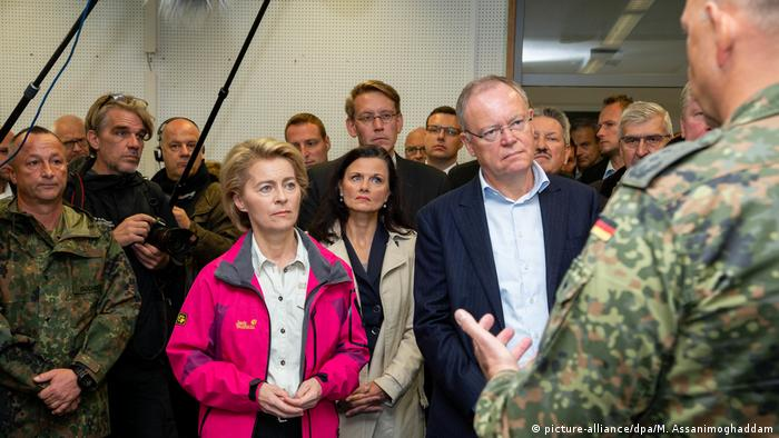 Germany's Defense Minister Ursula von der Leyen meeting with local officials