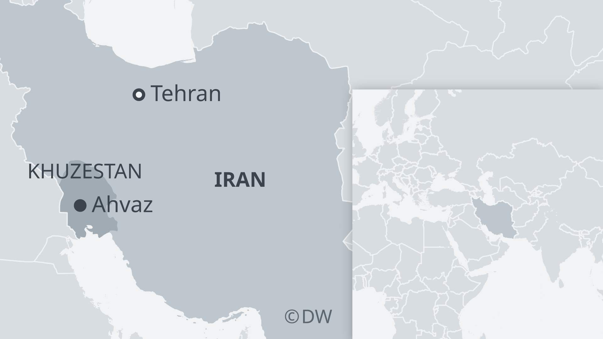 Map of Iran showing Tehran, Ahvaz and Khuzestan