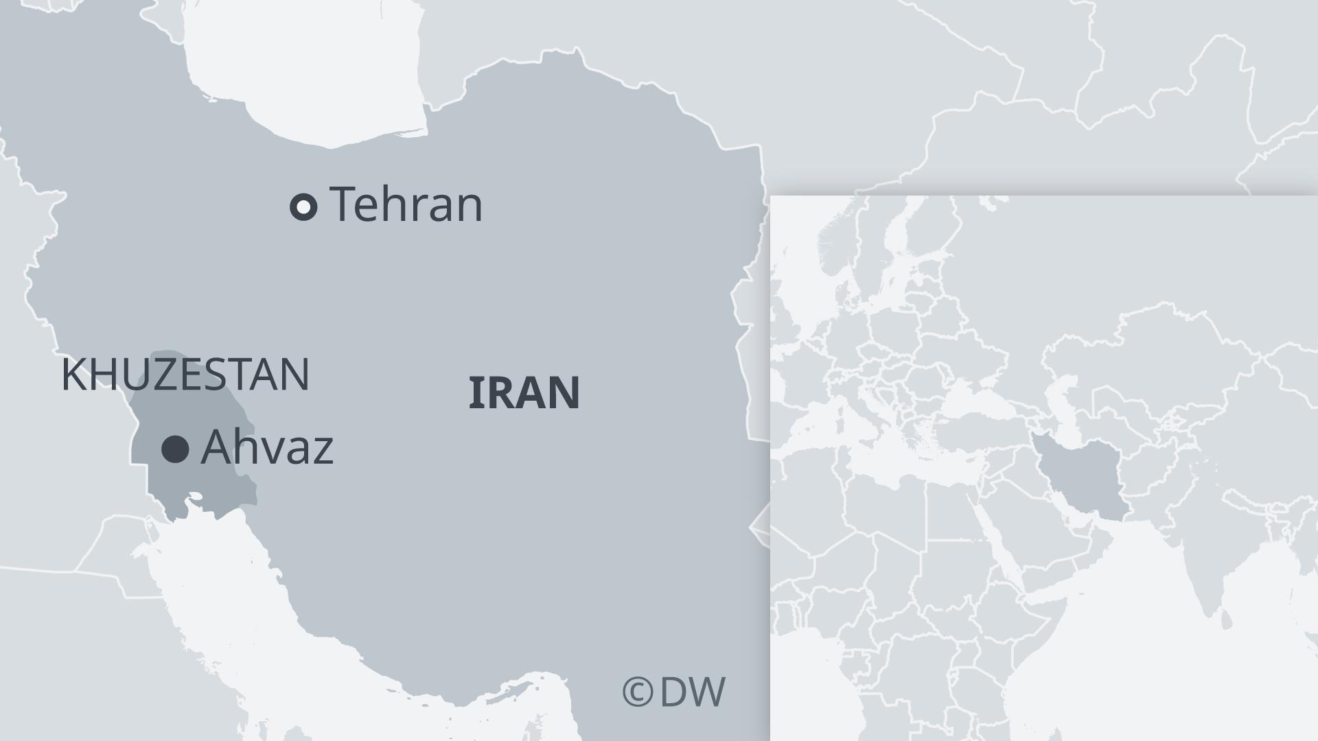 Map of Iran showing Tehran, Ahvaz and Khuzestan