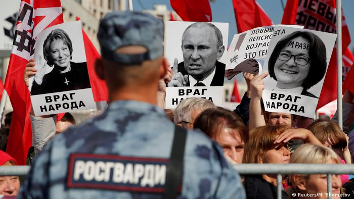 Protests against pension reform in Moscow