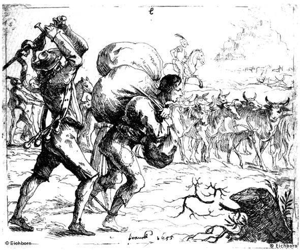 Escena de la Guerra de los Treinta Años: soldados expulsan a campesinos.