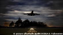 An airplane takes off from Cologne airport