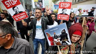 Демонстрация в Дюссельдорфе против визита Эрдогана в Германию, 22 сентября