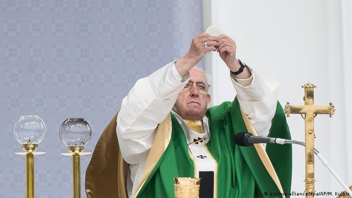 Pope Francis at a mass