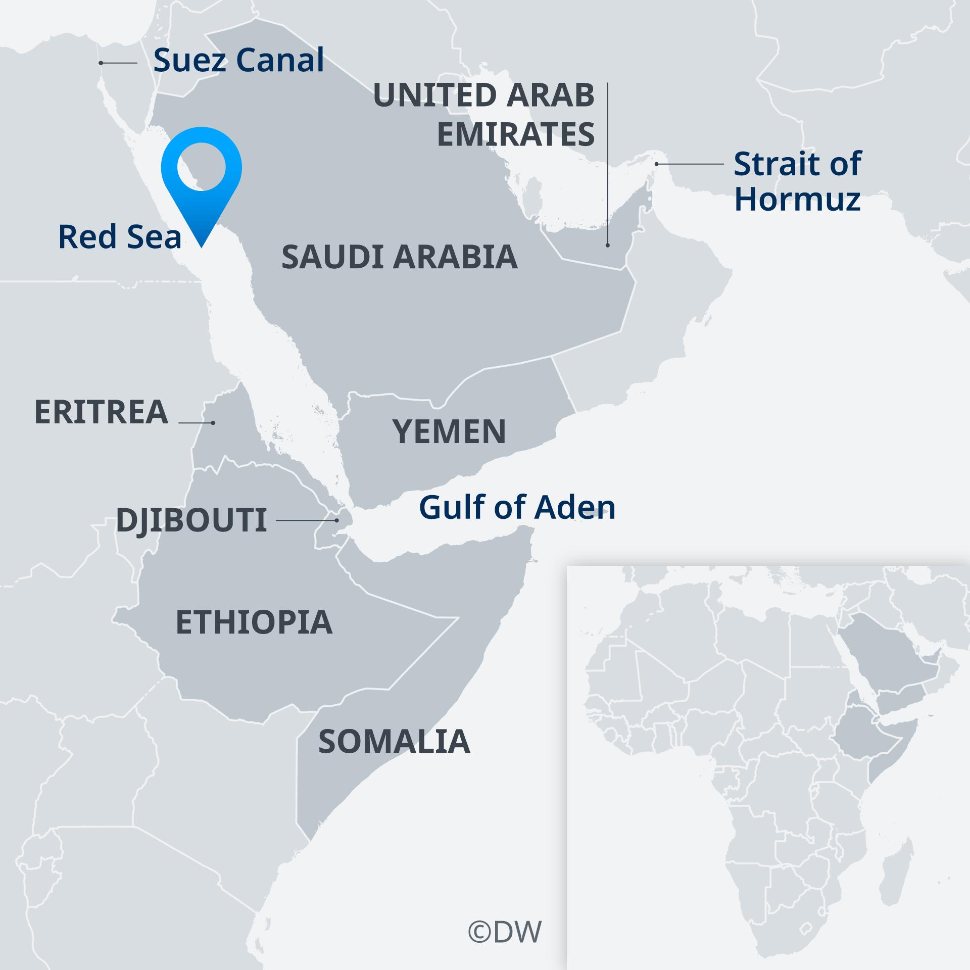 Karte Horn Afrika Aden Suez Hormuz EN