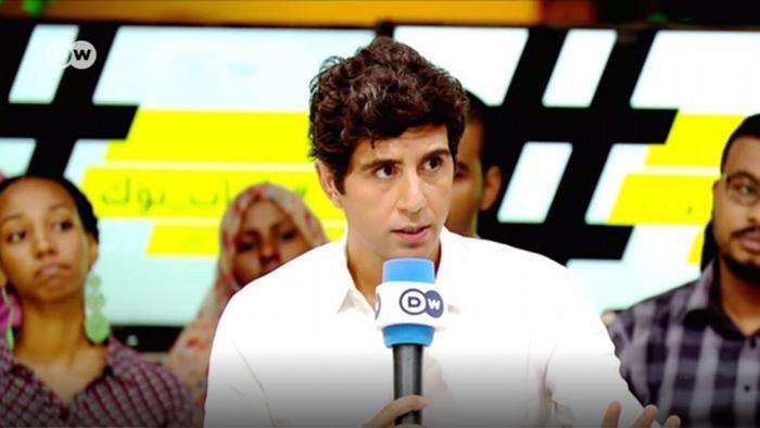 Jaafar Abdul Karim speaks during a Shabab Talk episode in Sudan