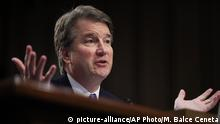 FILE - In this Sept. 5, 2018, file photo, Supreme Court nominee Brett Kavanaugh testifies before the Senate Judiciary Committee on Capitol Hill in Washington. Combat won out over caution. White House aides and congressional allies worked all week to keep President Donald Trump from unloading on the woman who has accused Kavanaugh of sexual misconduct. (AP Photo/Manuel Balce Ceneta) |