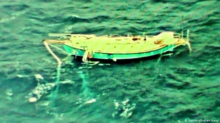 An aerial photo of Abhilash Tomy's yacht (Reuters/Indian Navy)