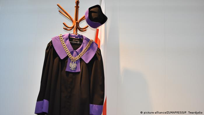 Polish judges robes on a coat rack