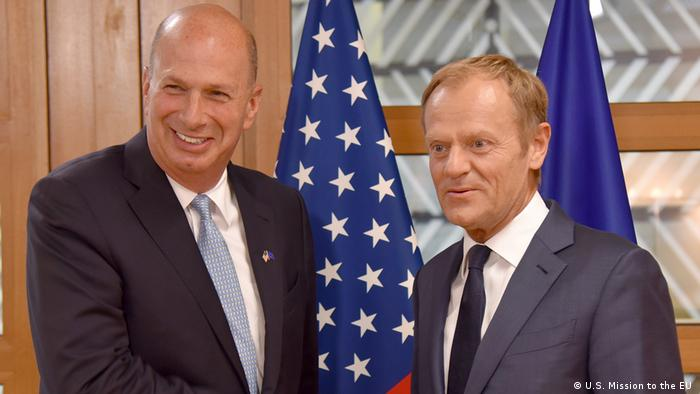 US Ambassador to the EU Gordon Sondland and EU President Donald Tusk