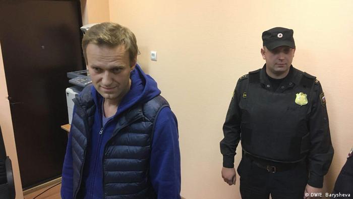 Российский оппозиционер Алексей Навальный в Симоновском суде Москвы 24 сентября 2018 года
