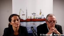 French NGO SOS Mediterranee chiefs Sophie Beau and Francis Vallat (Reuters/C. Hartmann)