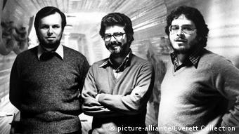 Star Wars-Produzent Gary Kurtz, Regisseur George Lucas und Autor Lawrence Kasdan (1980)