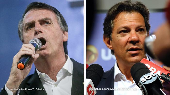 Combo photo of Jair Bolsonaro and Fernando Haddad