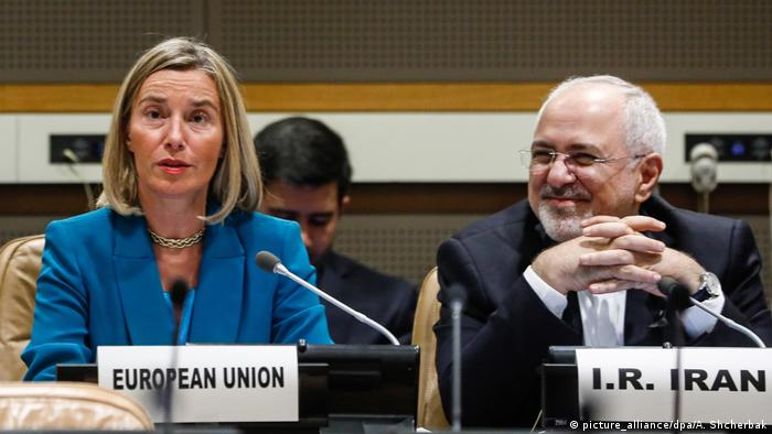 EU foreign relations chief Federica Mogherini with Iran's Foreign Minister Mohamad Javad Zarif at the UN