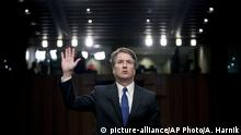 FILE - In this Sept. 4, 2018, file photo, Supreme Court nominee Brett Kavanaugh is sworn-in before the Senate Judiciary Committee on Capitol Hill in Washington. (AP Photo/Andrew Harnik, file) |