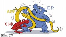DW-Karikatur von Sergey Elkin - Gouverneurswahlen in Russland