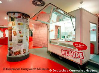 A replica currywurst stand in the museum