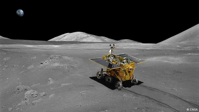 Artist impression of China's Yutu rover on the Moon