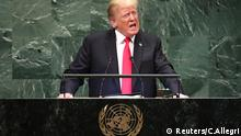 U.S. President Donald Trump addresses the 73rd session of the United Nations General Assembly at U.N. headquarters in New York, U.S., September 25, 2018. REUTERS/Carlo Allegri