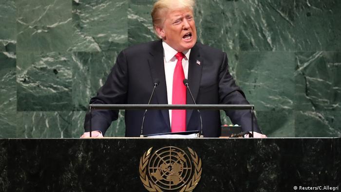 US-Präsident Trump spricht vor der Generalversammlung der Vereinten Nationen in New York (Reuters/C.Allegri)