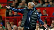 25.9.2018*** Soccer Football - Carabao Cup - Third Round - Manchester United v Derby County - Old Trafford, Manchester, Britain - September 25, 2018 Manchester United manager Jose Mourinho gestures REUTERS/Andrew Yates EDITORIAL USE ONLY. No use with unauthorized audio, video, data, fixture lists, club/league logos or live services. Online in-match use limited to 75 images, no video emulation. No use in betting, games or single club/league/player publications. Please contact your account representative for further details.