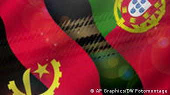 Bildkombo Flaggen Angola und Portugal