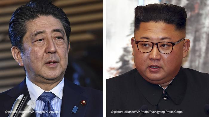 A picture combination of Japanese Prime Minister Shinzo Abe and North Korean leader Kim Jong Un