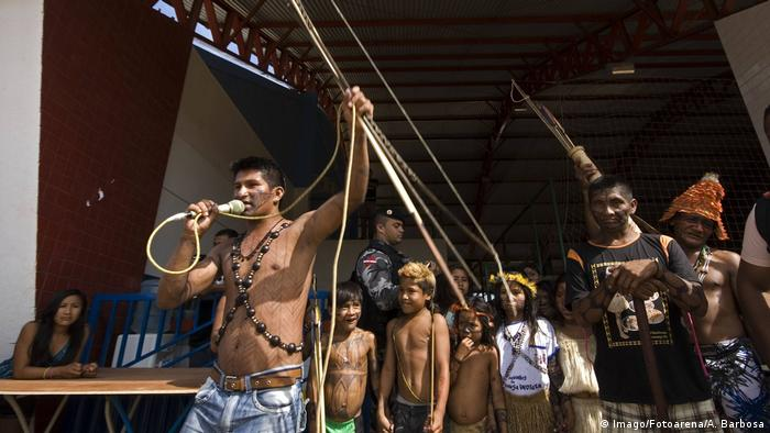 Indigenous communities in Brazil protesting against a hydroelectric power plant on the Tapajos river