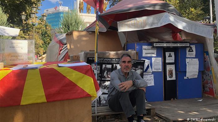 Risto Mijakovski in front of his tent in Skopje