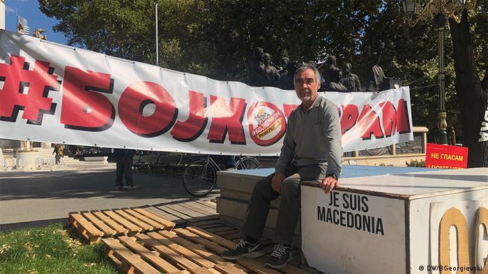 Risto Mijakovski in front of his protest tent