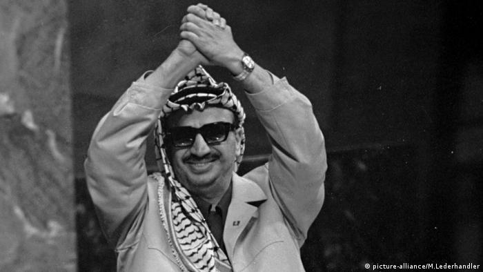 Yasser Arafat spricht bei der UN (picture-alliance/M.Lederhandler)