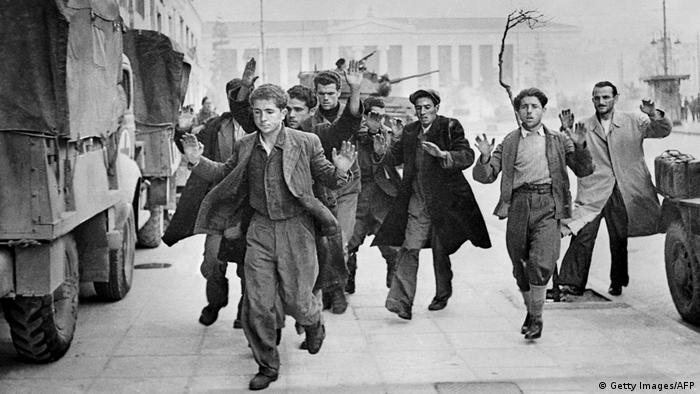Photo taken in December 1944 in Athens, during the World War II of communists partisans being arrested (Photo: AFP/Getty Images)