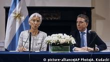 Argentinien PK Christine Lagarde und Nicolas Dujovne