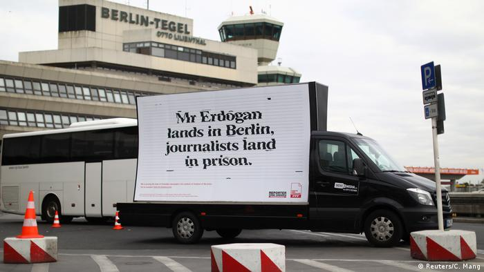 A billboard prepared by Reporters Without Borders