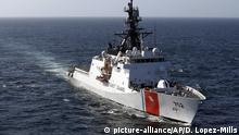 FILE - In this March 7, 2017 file photo, the U.S. Coast Guard cutter Stratton steams through the eastern Pacific Ocean. The U.S. Coast Guard is teaming up with the Mexican and Colombian navies off South America's Pacific coast to go after seafaring smugglers, opening a new front in the drug war. (AP Photo/Dario Lopez-Mills, File) |