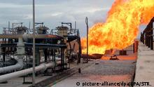 Flames erupting from a blast at an Egyptian gas pipeline