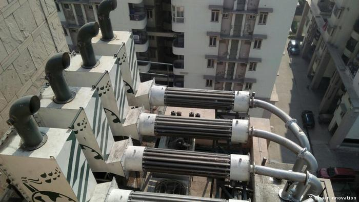 Diesel particle filter invented by Chakr Innovation,installed on a Delhi roof